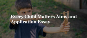 Every Child Matters Aims and Application Essay