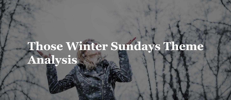 Those Winter Sundays Theme   Analysis